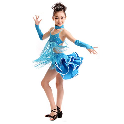 Girls' Dancing Dress Party Dress Latin Dress Costume 110cm-120cm,Blue