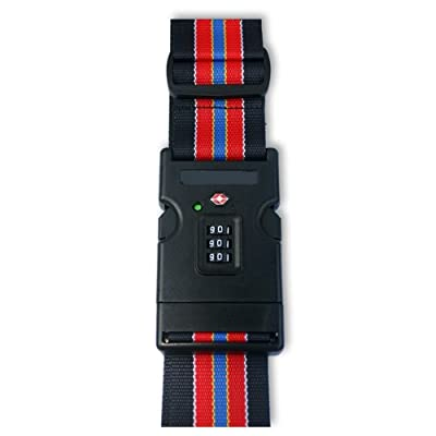 """2"""" Luggage Strap With TSA Combination Lock with SEARCHCHECK Indicator - RED & BLACK by LEOVAR"""