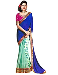 Suchi Net Saree With Blouse Piece (Sfmil50248 _Turquoise And Blue)