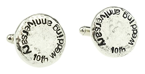 10th-Wedding-Anniversary-Hammered-Cuff-links-for-Husband-10th-Anniversary-Gift-Idea-Keepsake