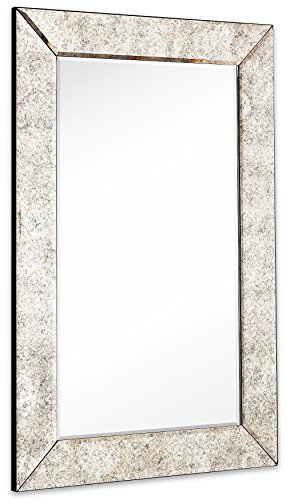 Large Antiqued Framed Wall Mirror 3.5 inch Antique Frame Rectangular Mirrored Glass Panel | Premium Beveled Silver Backed Mirror Vanity, Bedroom, or Bathroom Hangs Horizontal & Vertical (24