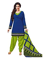 Nikki Fab Blue Cotton Unstitched Dress Materials