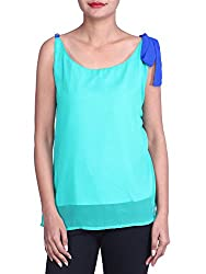Iande Turquoise georgette With blue stripe top