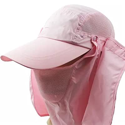 Ezyoutdoor Safari Outback Fishing Sun Hat with Neck Flap, Mens Outdoor Breathable Quick-dry collapsible Cap UV Protection Topee pink