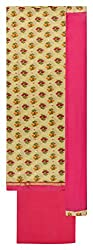 Sanskriti Women's Cotton Unstitched Dress Material (Beige and Pink)