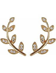 Aaishwarya Golden Petite Leaf Stone Ear Cuff Studs For Women & Girls