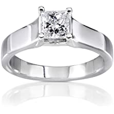 buy Finetresor Princess Solitaire Cathedral Design Engagement Ring In 14K White Gold