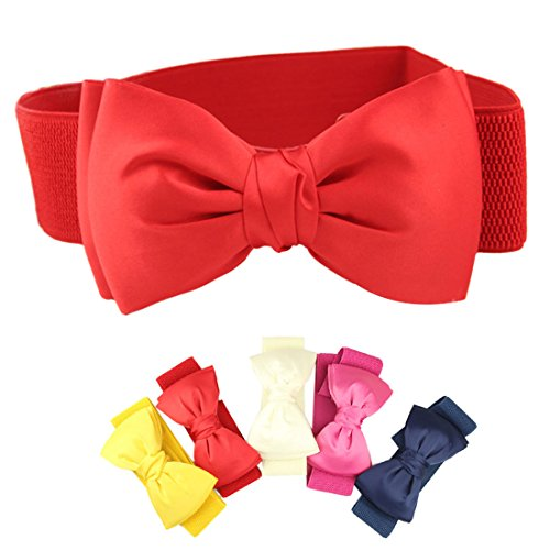 Voberry® Hot Selling Women Chiffon Girls Bowknot Bow Elastic Eaistband Eide Belt Buckle (Red)