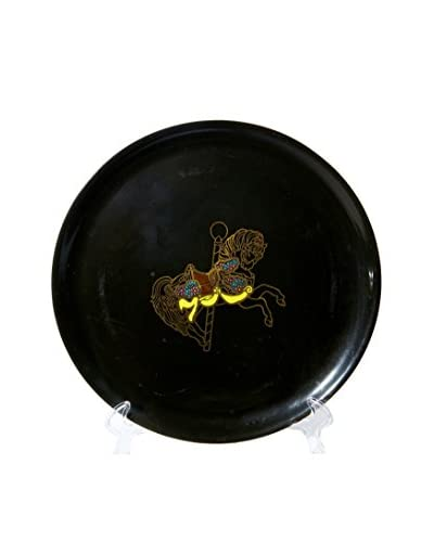 1960s Couroc Inlaid Round Carousel Horse Tray