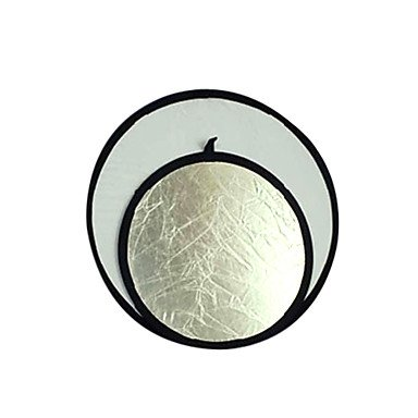 """Jajay 32"""" 80Cm Silver / White 2 In 1 Collapsible Disc Reflector (Cca292)"""