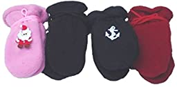Four One Size Mongolian Fleece Very Warm Mittens for Infants Ages 3-6 Months
