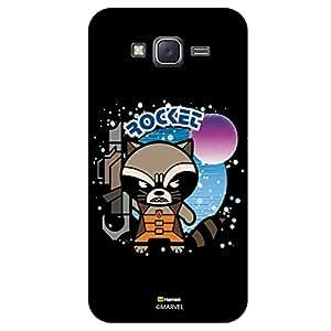 Hamee Original Marvel Character Licensed Designer Cover Slim Fit Plastic Hard Back Case for Samsung Galaxy J7 - 2016 Edition (Rocket 1/Black )