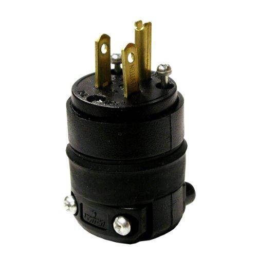Leviton 000-515Pr-000 15 Amp Black Rubber Plug Grounded 125 Volt