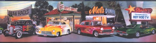 Mel's Diner Cars Wallpaper Border Chevy Ford Flames (Classic Car Wallpaper Border compare prices)