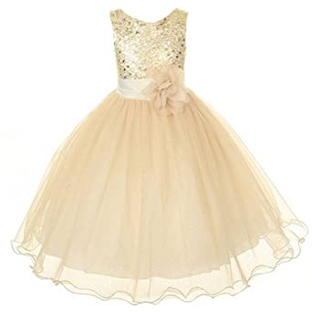 Amazon.com: Kids Dream Gold Sequin Double Mesh Flower Girl ...