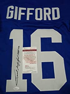 Frank Gifford New York Giants Signed Autograph Throwback Jersey JSA COA #w504497 by Hollywood Collectibles