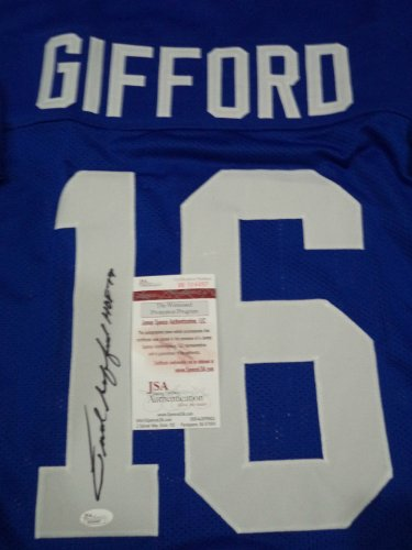Frank Gifford New York Giants Signed Autograph Throwback Jersey JSA