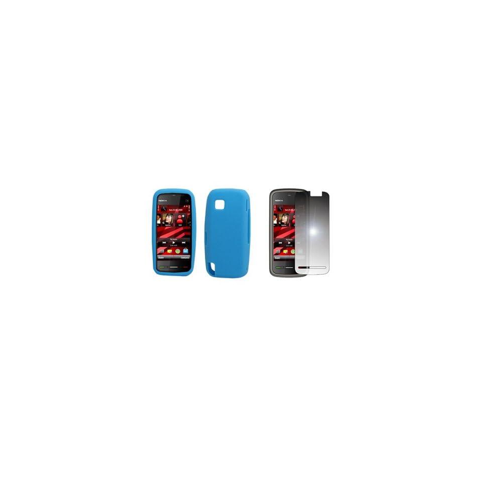 EMPIRE Light Blue Silicone Skin Case Cover + Mirror Screen Protector for T Mobile Nokia Nuron 5230