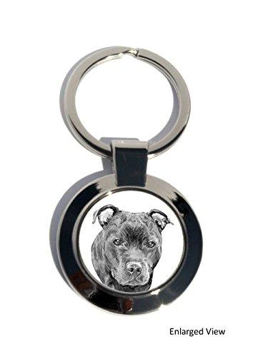 staffordshire-bull-terrier-chien-rond-plaque-chrome-porte-cles-cadeau