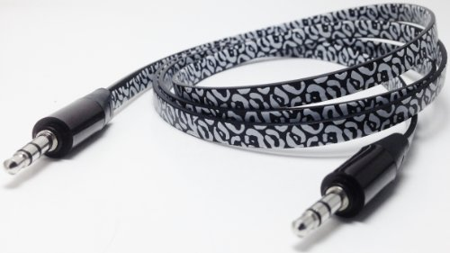 Cablesfrless (Tm) 3Ft 3.5Mm Patterned Tangle Free Auxiliary (Aux) Cable (Leopard Black)