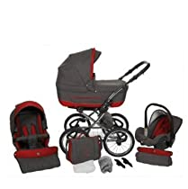 Hot Sale Lux4kids TURRAN Silver 3 in 1 Pram Travel System Stroller Pushchair.. (04 Gray/Red)