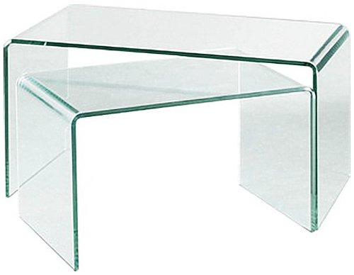 Premier Housewares Nested Coffee Tables with Clear Bent Glass, Set of 2, 42 x 85 x 50 cm