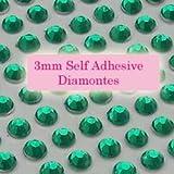 300 Emerald Green 3mm Acrylic Rhinestone Gems ~ Self Adhesive