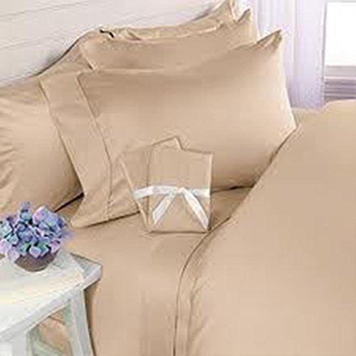 600 Tc Egyption Cotton 4Pc Sheet Set Beige Solid Queen Size Ehs 056 front-534298