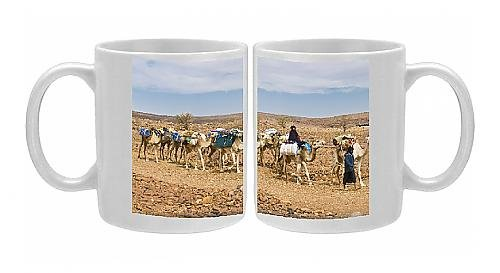 Photo Mug Of Camel Caravan Riding Through The Stone Desert Near Atar, Mauritania, Africa From Robert Harding