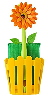 Vigar Flower Power Sink Side Fence Caddy Set with Suction, Brush and Sponge, 9-7/8-Inches Tall, Orange