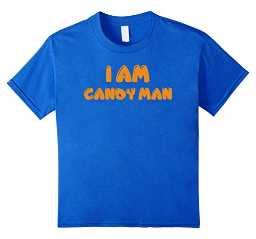 [Kids I Am Candy Man Funny Hand Out Halloween Costume T-Shirt Tee 4 Royal Blue] (Clever Halloween Costumes For Guys)