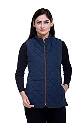 Trufit Sleeveless Solid Women's Navy Quilted High neck side rib Cotton Blend Jacket