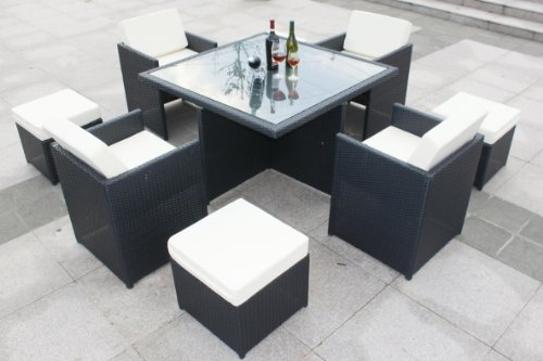 9 pcs Luxury Wicker Patio Indoor Outdoor Dinner