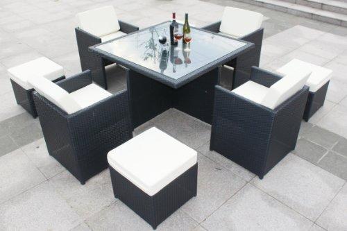 9 pcs Luxury Wicker Patio Indoor Outdoor Dinner