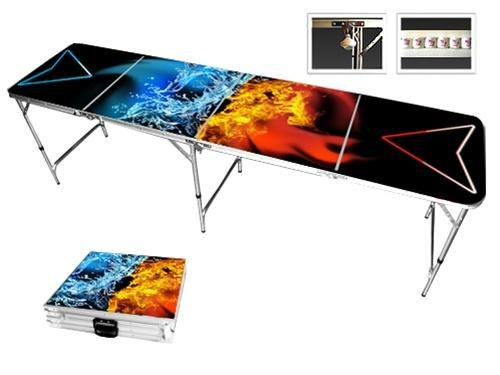 Premium 8 Foot Fire Water Showdown Beer Pong Table.