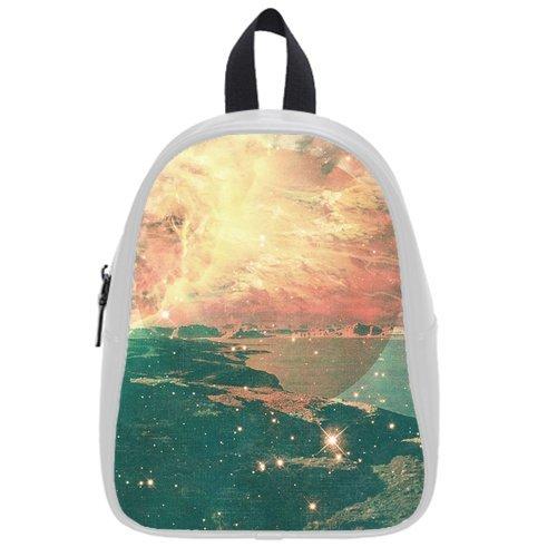 Generic Custom Fire Water Sea Ocean Star Planet Galaxy Universe Printed White School Bag Backpack Fit Short Trip Pu Leather Medium front-1067459