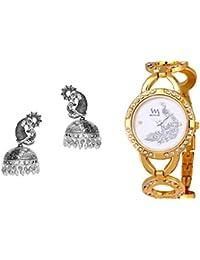 WATCH ME Set Of Watch And Earrings Combo Gift Set For Women & Girls RAK-WM-WM-107-G-ZKRPGE75