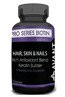 Pro Series Biotin (3,000 mcg) Premium Anti-Oxidant Vitamins | Promote Hair and Nails Growth/Regrowth, Healthy Skin; Prevent Hair Loss, Wrinkles and Weak Nails | Men & Women | 100% Natural USA 30ct