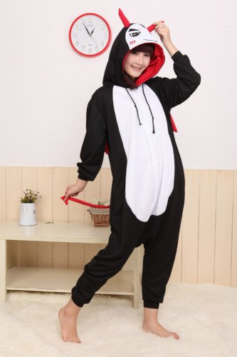 Winter Devil Pajamas Cosplay Costume Footed Sleepwear For Women Men