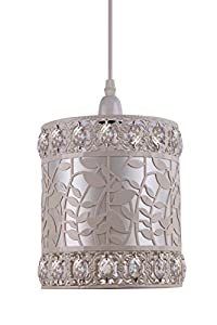 Kliving Roxanne Cream Metal Acrylic Beads Non Electric Ceiling Light Shade by Kliving