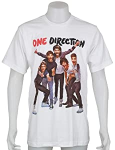 One Direction Uk Hot Popular Boy Band Niall Zayn Liam Harry Louis Size Medium White Music Tee T-shirt by Smock
