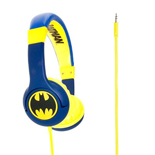 """Batman """"The Caped Crusader"""" Cuffie Junior con Funzione Limitativa del Volume a 85Db per Bambini di Età 3-7 Anni, Compatibile con Smartphone, Tabet e Dispositivi MP3, Blu"""