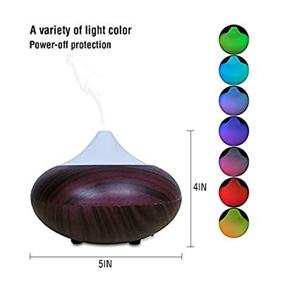 Cool Mist Air Humidifier 140ml Essential Oil Diffuser Portable Aromatherapy with 7 Color LED Lights Changing & Waterless Auto Shut-off Function for Home Office Bedroom Room