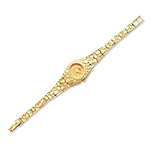 14k Gold Ladies Circular Champagne 22mm Dial Solid Nugget Watch