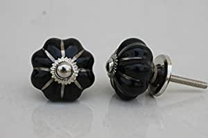 Set of 2 Medium Melon Black Drawer Pull Cabinet Door Knobs Dresser Drawer Handle Kitchen Room Almirah Wardrobe Online India available at Amazon for Rs.129
