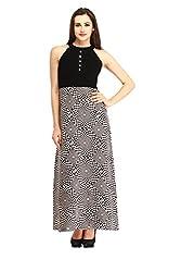 Cottinfab Women Polyester Black Dress (Medium)
