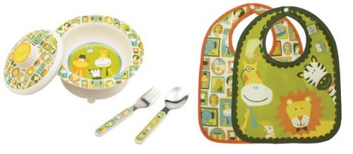 Sugarbooger Covered Bowl, Silverware, and 2 Bibs Set-It's A Jungle - 1