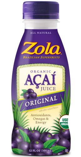 Zola Brazilian Superfruits Acai Original Juice, 12oz bottles, pack of 12