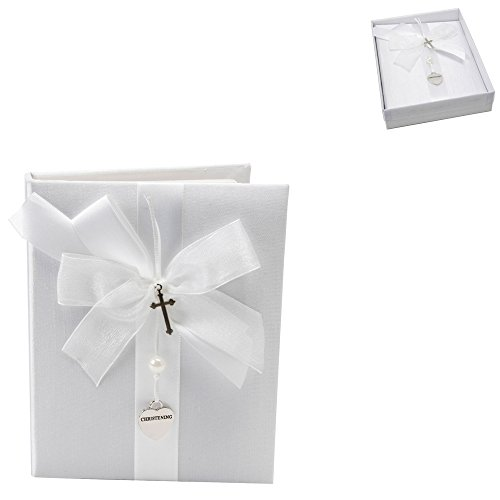 White Satin Christening Photo Album With Silver Heart And Cross By Haysom Interiors - 1