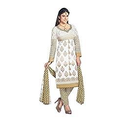 Cozer Creation White And CreamCotton Printerd Salwar Suit Dress Material